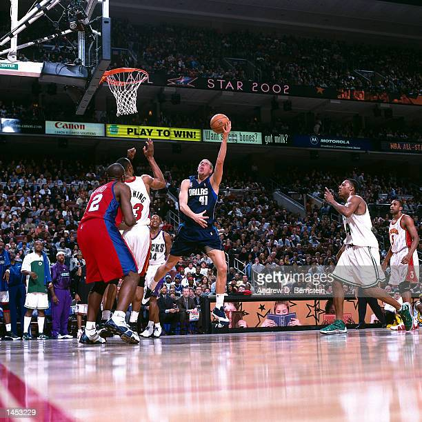Dirk Nowitzki of the Dallas Mavericks goes for a hook shot during the 2002 NBA All Star Game at the First Union Center in Philadelphia Pennsylvania...