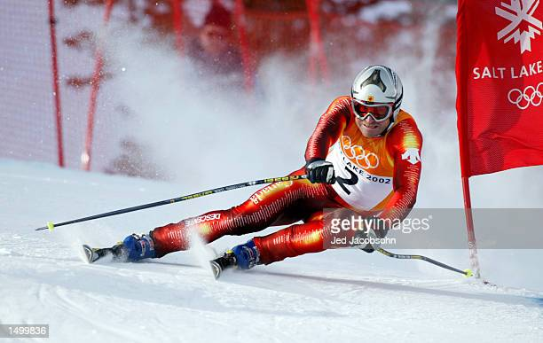 Ed Podivinsky of Canada in action in the downhill event of the men's combined during the Salt Lake City Winter Olympic Games at the Snowbasin ski...