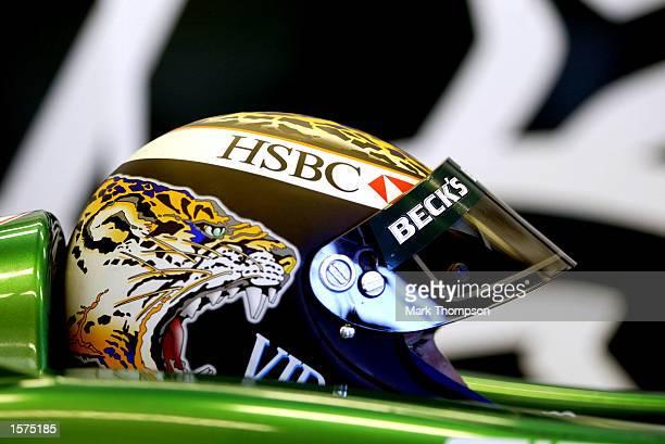 Eddie Irvine of Norther Ireland and Formula one team Jaguar during testing at the Silverstone circuit, Northamptonshire. DIGITAL IMAGE. Mandatory...