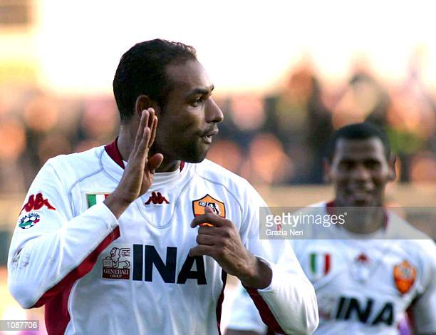 Emerson of Roma celebrates scoring during the Serie A match between Fiorentina and Roma played at the Artemio Franchi Stadium Florence DIGITAL IMAGE...