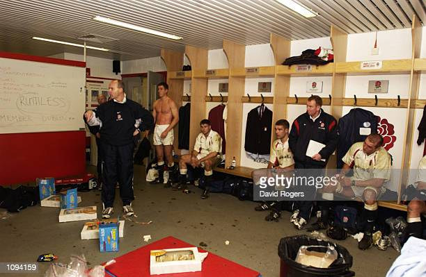 England manager Clive Woodward talks tactics during the Lloyds TSB Six Nations Championship match against Ireland played at Twickenham in London...