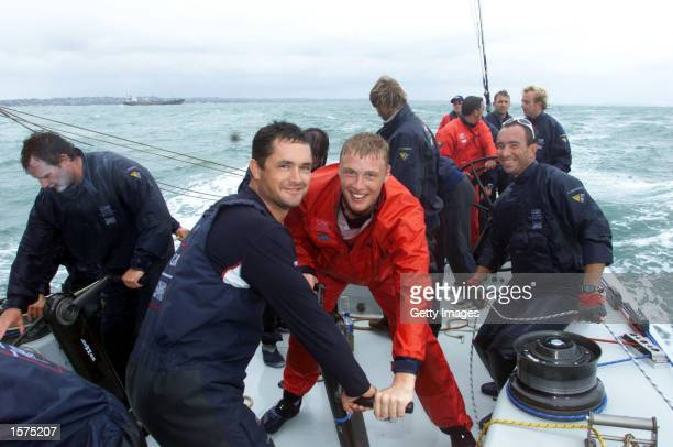 England players Andrew Flintoff and Darren Gough have a trip on the boat used for the GBR Challenge for the America's Cup in Auckland harbour...