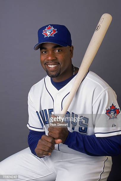 First baseman Carlos Delgado of the Toronto Blue Jays poses for a studio portrait during Blue Jays Picture Day at the Dunedin Stadium in Dunedin,...
