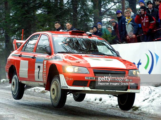 Francois Delecour of France driving his Mitsubishi Lancer EVO during the Swedish Rally a leg of the World Rally Championship in Sweden DIGITAL IMAGE...