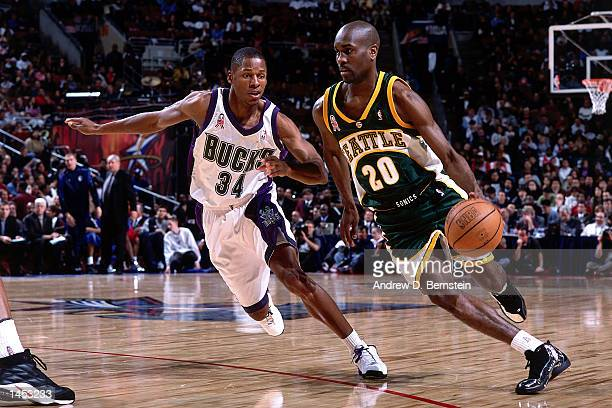 Gary Payton of the Seattle SuperSonics drives during the 2002 NBA All Star Game at the First Union Center in Philadelphia Pennsylvania NOTE TO USER...
