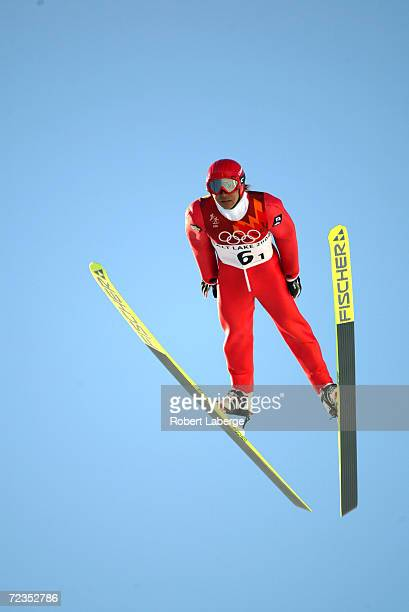 Gen Tomii of Japan in action in the Nordic Combined Team K90 event at the Utah Olympic Park in Park City during the Salt Lake City Winter Olympic...