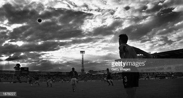 General View Alvin Ceccoli of the Wolves throws the ball in to play during the NSL match between Sydney United and the Wollongong Wolves held at the...