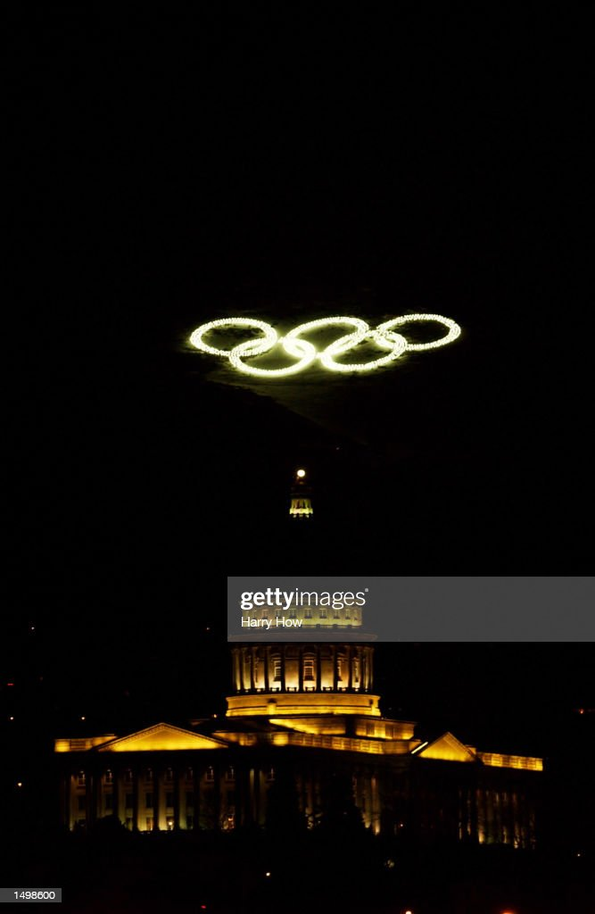 General view of the Olympic rings and the Utah State Capital Building during the Salt Lake City Winter Olympic Games in Salt Lake City, Utah. DIGITAL IMAGE. Mandatory Credit: Harry How/Getty Images