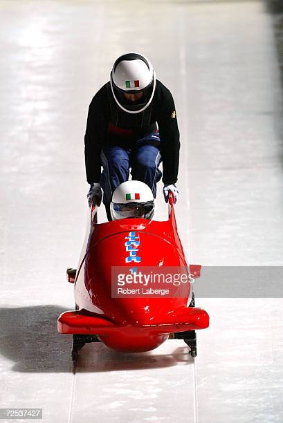 Gerda Weissensteiner and Antonella Bellutti in action in Italy1 during Women's Bobsleigh Training at the Utah Olympic Park during the Salt Lake City...