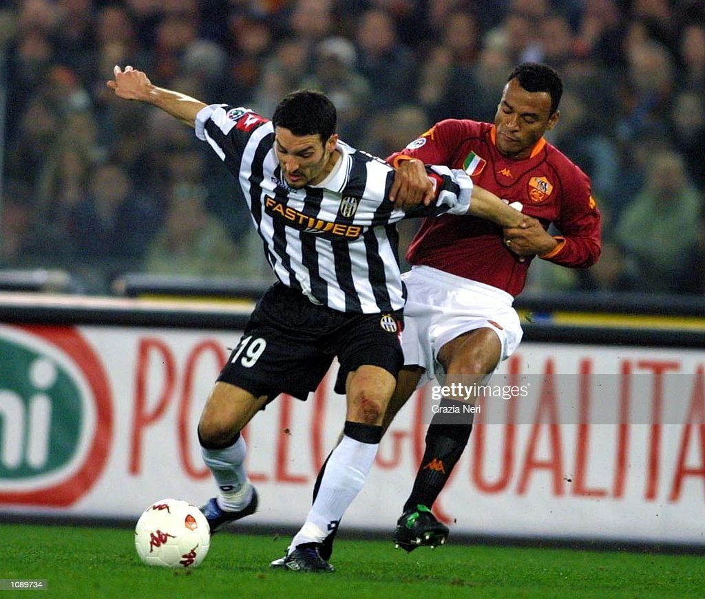 Gianluca Zambrotta Of Juventus And Cafu Of Roma In Action During The