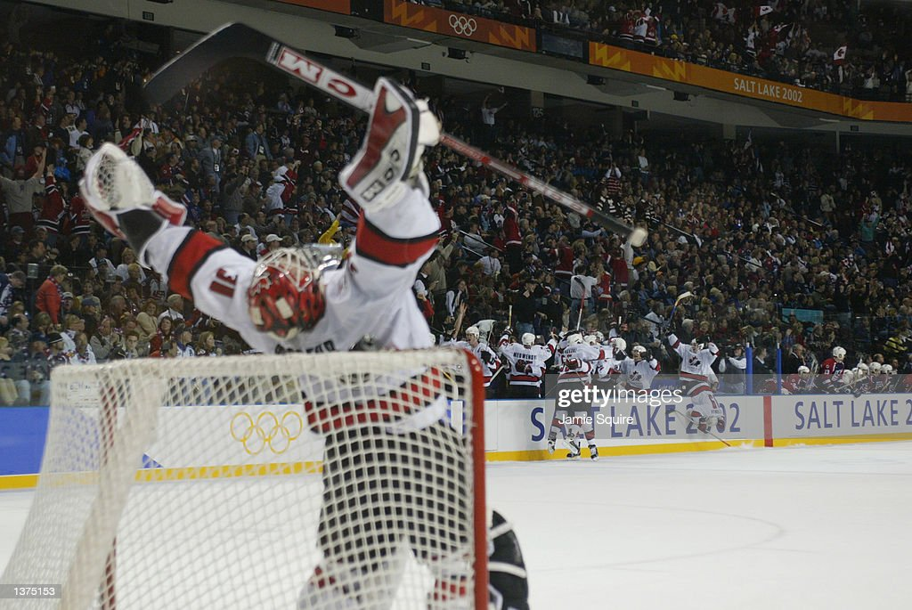 Goalie Martin Brodeur And The Rest Of The Canada Team Celebrate