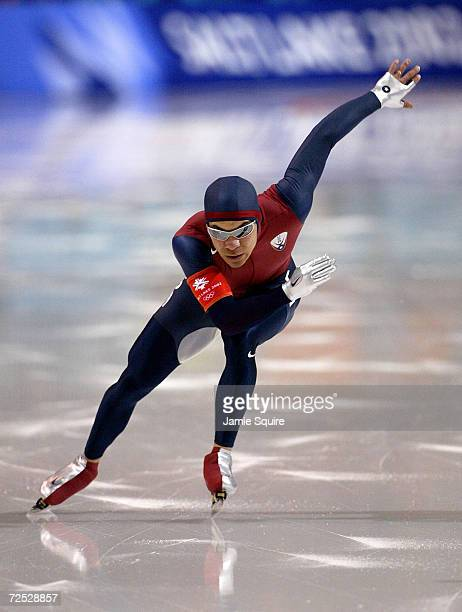 Gold medal winner Derek Parra of the USA wins the gold in a World and Olympic record time of 14395 during the men's 1500m speed skating event during...