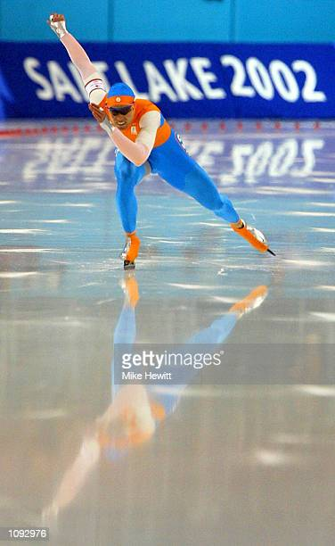 Gold medalist and new World and Olympic record holder Gerard van Velde of the Netherlands competes in the men's 1000m speed skating event during the...