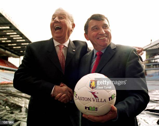 Graham Taylor is welcomed back by Aston Villa Chairman Doug Ellis at a press conference to announce that Taylor has been appointed as the new manager...
