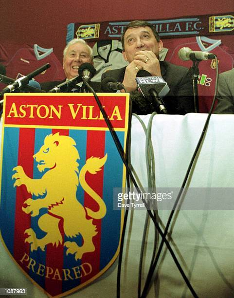 Graham Taylor talks to the assembled media, flanked by Aston Villa Chairman Doug Ellis at a press conference to announce that Taylor has been...