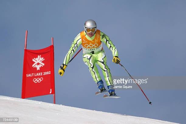 Gregor Sparovec of Slovenia in action in the Men's Combined Downhill at the Snowbasin Ski Area during the Salt Lake City Winter Olympic Games in Salt...