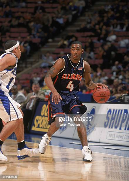Guard Luther Head of the Illinois Fighting Fighting Illini dribbles the ball over during the NCAA game against the Seton Hall Pirates at the...