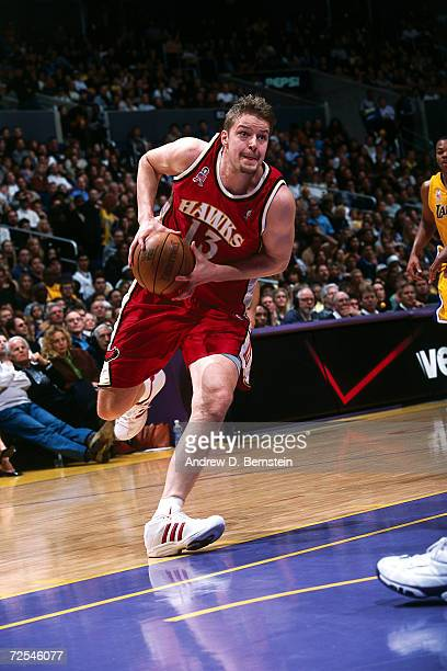 Hanno Mottola of the Atlanta Hawks drives to the basket against the Los Angeles Lakers during the NBA game at Staples Center in Los AngelesNOTE TO...