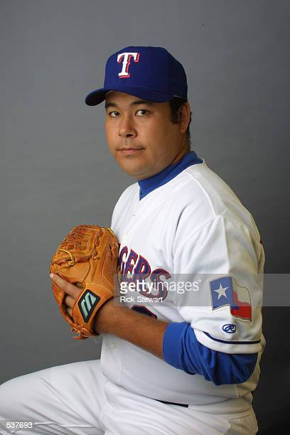 Hideki Irabu of the Texas Rangers poses during media day at Charlotte County Stadium in Port Charlotte Florida DIGITAL IMAGE Mandatory Credit Rick...