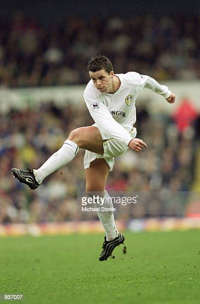 Ian Harte of Leeds United has a shot at goal during the FA Barclaycard Premiership match between Leeds United and Charlton Athletic played at Elland...