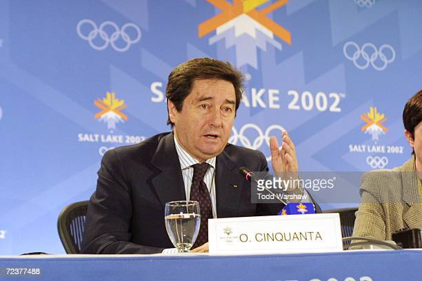 International Skating Union President Ottavio Cinquanta fields questions from the media during the ISU Press Conference at the Main Media Center...