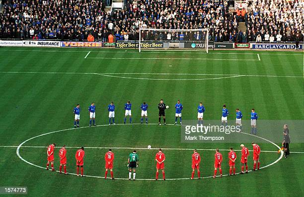 Ipswich and Liverpool players stand for a minute's silence in memory of for Princess Margaret before the FA Barclaycard Premiership match between...