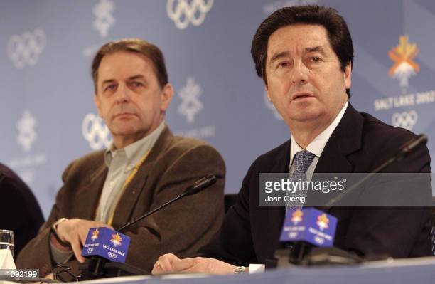 ISU President Ottavio Cinquanta and IOC President Jacques Rogge field questions from the media during the joint IOC and ISU press conference in the...