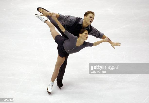 Jamie Sale and David Pelletier of Canada compete in the pair's free program during the Salt Lake City Winter Olympic Games at the Salt Lake Ice...