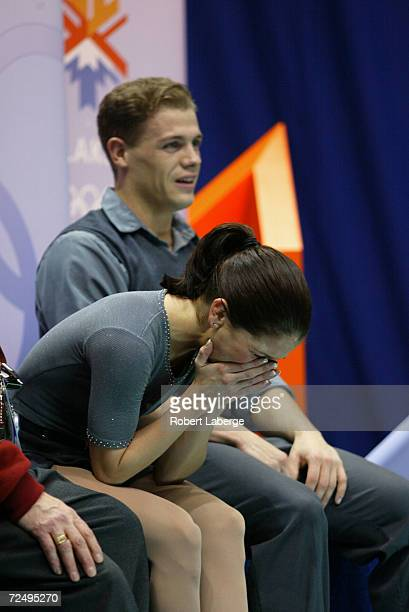 Jamie Sale and David Pelletier of Canada show their disappointment after receiving their marks in the Pairs Free Program Figure Skating at the Salt...