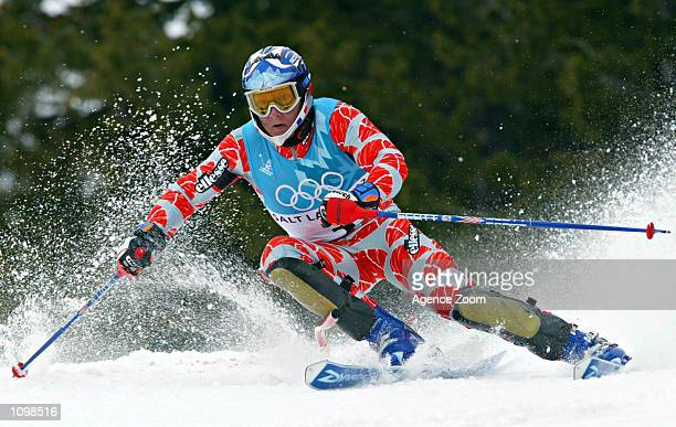 Jean Pierre Vidal of France speeds through a turn en route to a gold medal finish during the men's slalom during the Salt Lake City Winter Olympic...