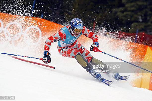 Jean Pierre Vidal of France takes a turn en route to a gold medal finish in the men's slalom during the Salt Lake City Winter Olympic Games at the...