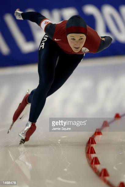 Jennifer Rodriguez of the USA competes in the women's 3000m speed skating event during the Salt Lake City Winter Olympic Games at the Utah Olympic...