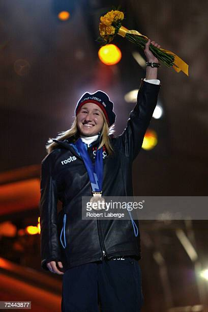 Jennifer Rodriguez of the USA receives her bronze medal for the women's 1000m speed skating at Olympic Medals Plaza during the 2002 Salt Lake Winter...