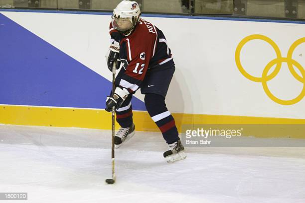 Jenny Potter of the USA in action during the womens ice hockey exhibition game against Russia at the E Center before the Salt Lake City Winter...
