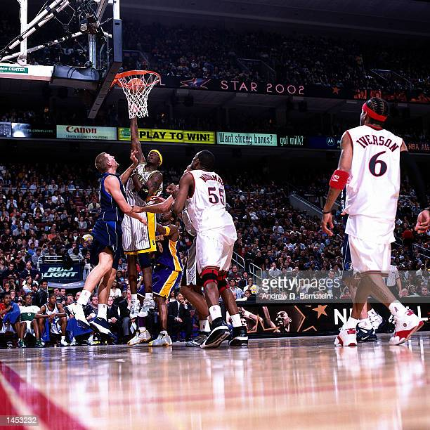 Jermaine O''Neal of the Indiana Pacers goes for a layup during the 2002 NBA All Star Game at the First Union Center in Philadelphia Pennsylvania NOTE...