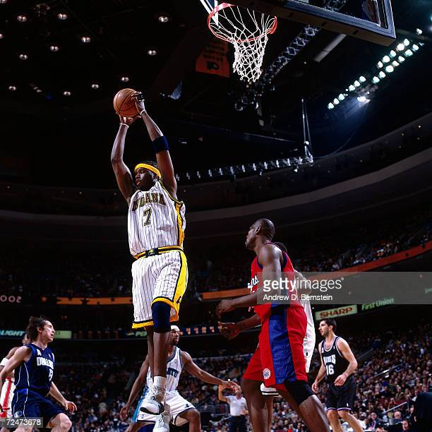 Jermaine O''Neal of the Indiana Pacers grabs a rebound during the 2002 NBA All Star Game at the First Union Center in Philadelphia PennsylvaniaNOTE...
