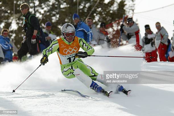 Jernej Koblar of Slovenia in action in the Men's Combined Slalom at the Snowbasin Ski Area during the Salt Lake City Winter Olympic Games in Salt...