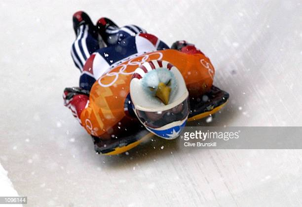 Jim Shea of the USA in action on his way to winning the gold medal in the men's skeleton during the Salt Lake City Winter Olympic Games at the Utah...