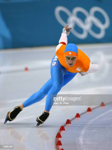 Jochem Uytdehaage of the Netherlands in action before winning the Gold medal and a new world and olympic record time during the men's 5000m speed...
