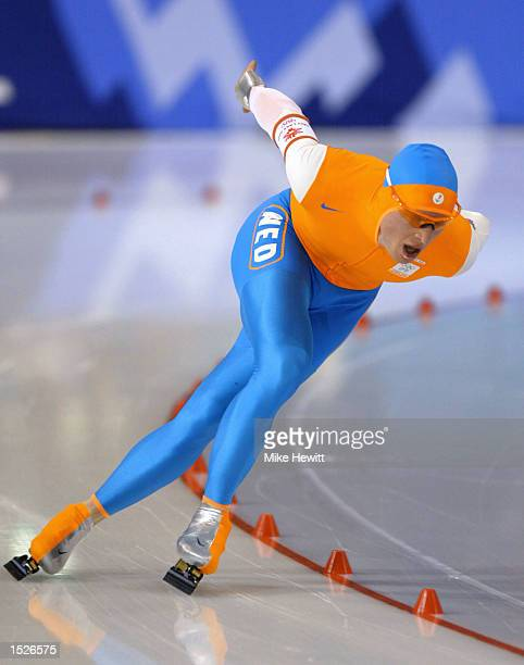 Jochem Uytdehaage of the Netherlands on his way to a World Record time of 125892 in the men's 10000m speed skating event during the Salt Lake City...