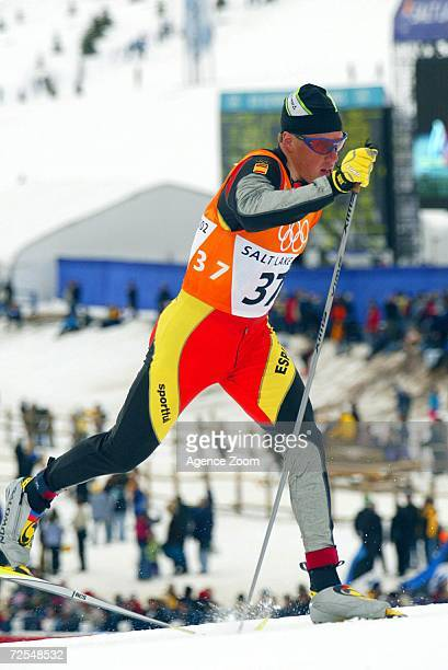 Johann Muehlegg of Spain en route to a gold medal finish during the men's 50km cross country event during the Salt Lake City Winter Olympic Games at...