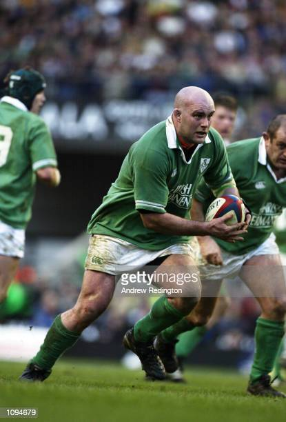 John Hayes of Ireland runs with the ball during the Lloyds TSB Six Nations Championship match against England played at Twickenham, in London....