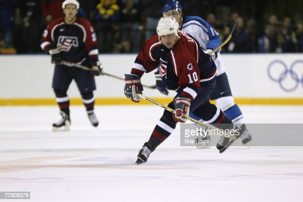 John LeClair of the USA in action during the game against the USA Salt Lake City Winter Olympic Games at the E Center in Salt Lake City, Utah....