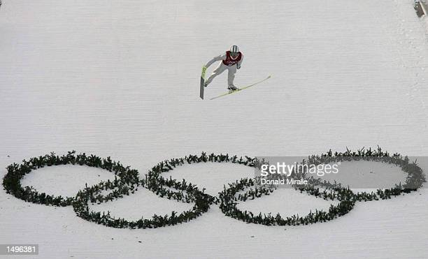 Johnny Spillane of the USA practices in the K-90 individual nordic combined event during the Salt Lake City Winter Olympic Games at the Utah Olympic...