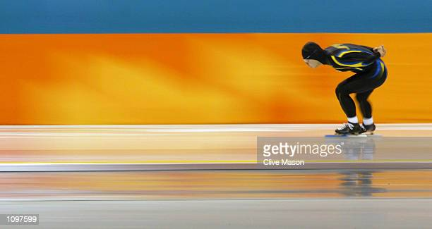 Keiji Shirahata of Japan competes in the men's 10000m speed skating event during the Salt Lake City Winter Olympic Games at the Utah Olympic Oval in...