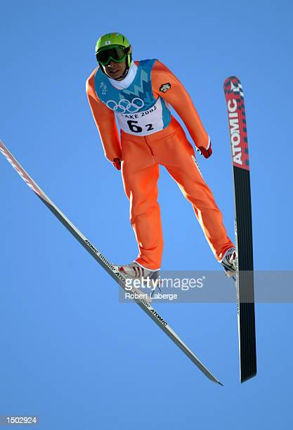 Kenji Ogiwara of Japan competes in the K-90 nordic combined team event during the Salt Lake City Winter Olympic Games at the Utah Olympic Park in...