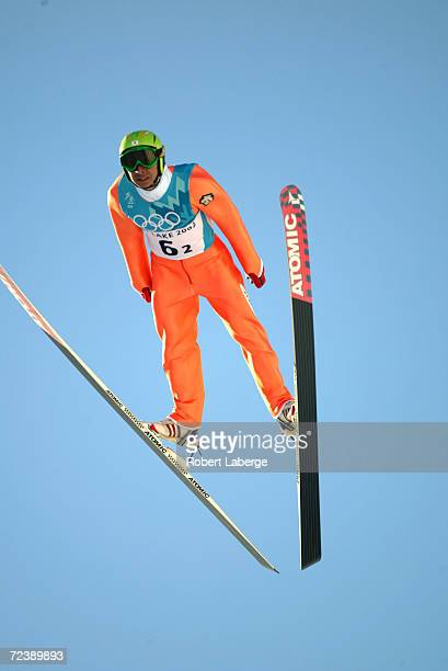 Kenji Ogiwara of Japan in action in the Nordic Combined Team K90 event at the Utah Olympic Park in Park City during the Salt Lake City Winter Olympic...
