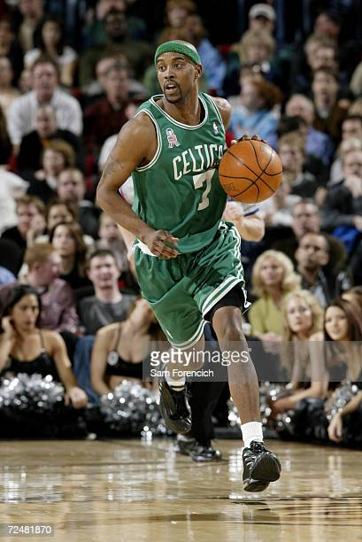 Kenny Anderson of the Boston Celtics brings the ball upcourt during the game against the Portland Trail Blazers at The Rose Garden in Portland OR The...