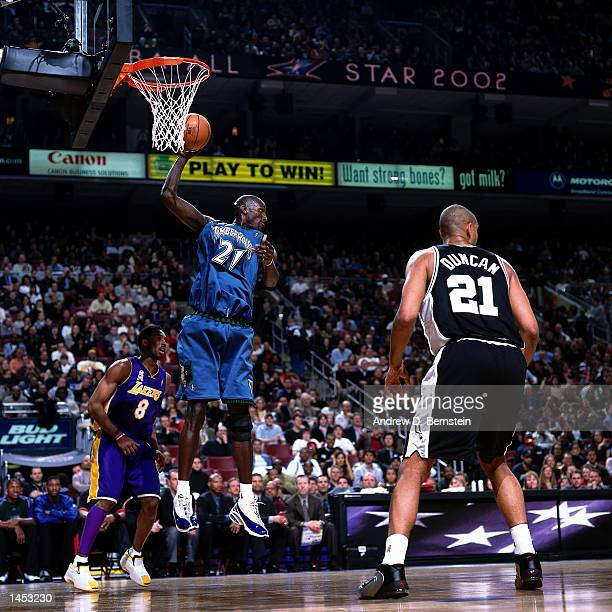 Kevin Garnett of the Minnesota Timberwolves grabs a rebound during the 2002 NBA All Star Game at the First Union Center in Philadelphia Pennsylvania...