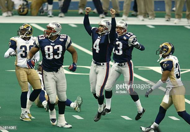 Kicker Adam Vinatieri of the New England Patriots watches his 48yard gamewinning field goal for a 2017 Super Bowl XXXVI victory over the St Louis...